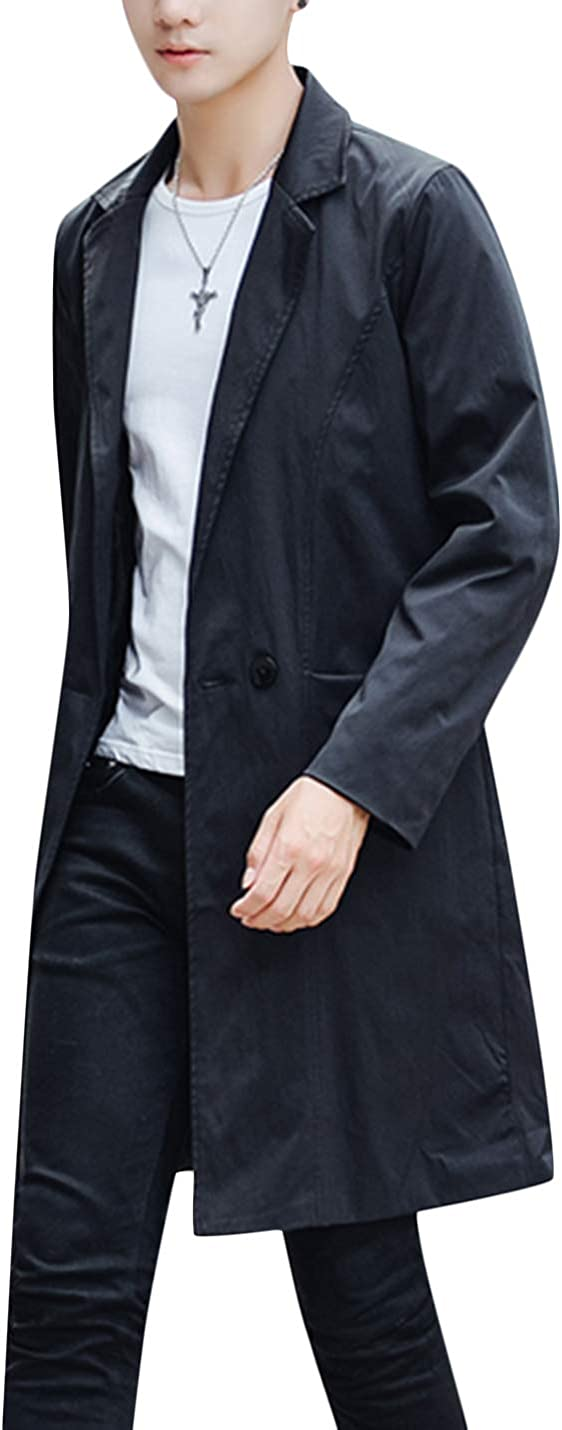 Springrain Mens Casual Double Breasted Long Sleeves Long Trench Coat