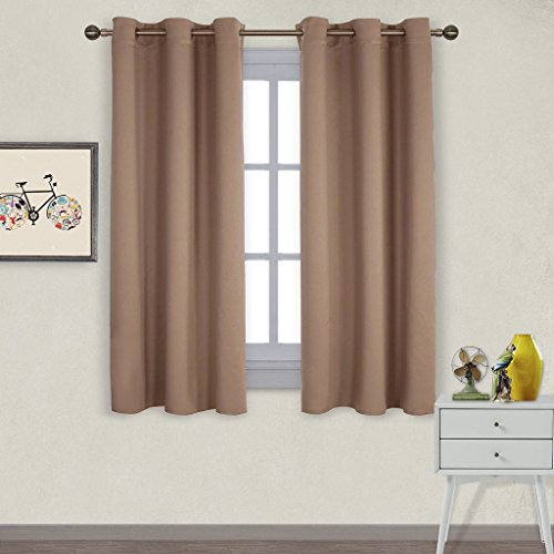 NICETOWN Window Treatment Thermal Insulated Solid Grommet Blackout Curtains / Drapes for Bedroom (Set of 2 Panels,42 by 63 (Dark Brown Cream Shade)