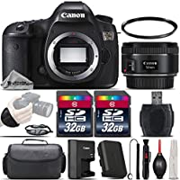 Canon EOS 5DS DSLR 50.6MP Full-Frame CMOS Camera + EF 50mm f/ 1.8 STM Lens + 64GB Storage + Wrist Grip Strap + Case + UV Filter + Card Reader + Air Cleaner + Cleaning Brush - International Version
