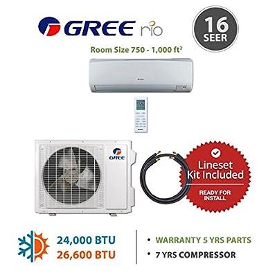 Gree RIO 24,000 BTU Ductless Mini Split Air Conditioner w/ Inverter, Heat Pump, Remote & Lineset (208/230V)