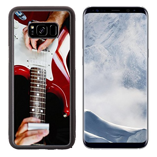 Luxlady Samsung Galaxy S8 Plus S8+ Aluminum Backplate Bumper Snap Case IMAGE ID 31511081 Guitarist playing vintage fender stratocaster guitar -