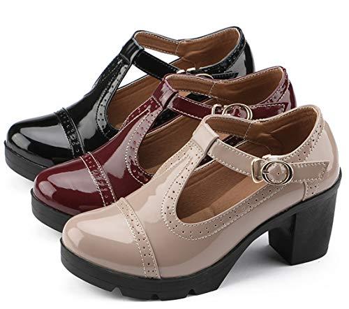 Heel Mid Classic Oxfords Black T Toe Square Platform Dress Strap Shoes Women's DADAWEN a6qR4