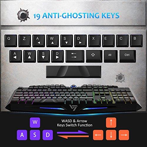 ltimedia Keys for PC Gamers/Office Workers Wired Membrane Keyboard Red LED Backlight 10 Million Keystrokes 19-Key Window Key Lock with 6 Mu 2019 Edition EasySMX W8810 Gaming Keyboard