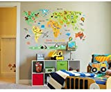 Kids World Map Poster Wall Sticker Illustrated Children's World Map Picture