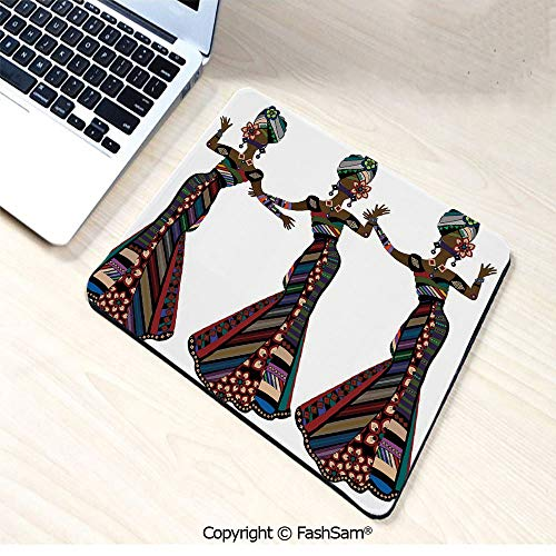 Non-Slip Rubber Mouse Pads Young Women in Stylish Native Costumes Carnival Festival Theme Dance Moves Decorative for Computers Laptop Office(W7.8xL9.45)]()