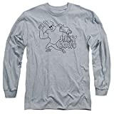 Johnny Bravo Cartoon Network Series Show Line Art Logo Adult Long-Sleeve T-Shirt