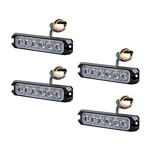 30W IP68 6-LED Emergency Warning SYNC Strobe Light Surface Mount Car Truck 12V-24V (4pcs, Amber)