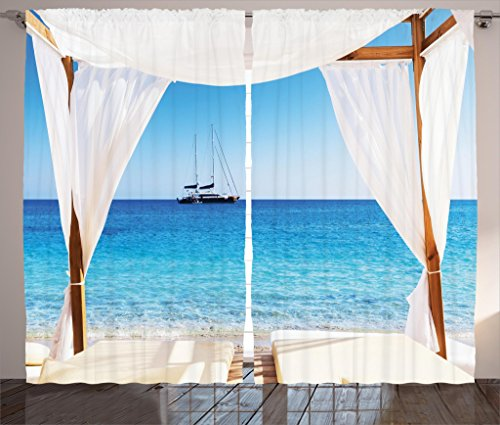 Ambesonne Balinese Decor Curtains, Beach Through A Balinese Bed Summer Sunshine Clear Sky Honeymoon Natural Spa Picture, Living Room Bedroom Decor, 2 Panel Set, 108 W X 84 L Inches, Blue White