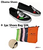 Men's obama canvas shoes casual run black Sneakers (Size 9) + Free shoes bag 17 x 12 1/4''