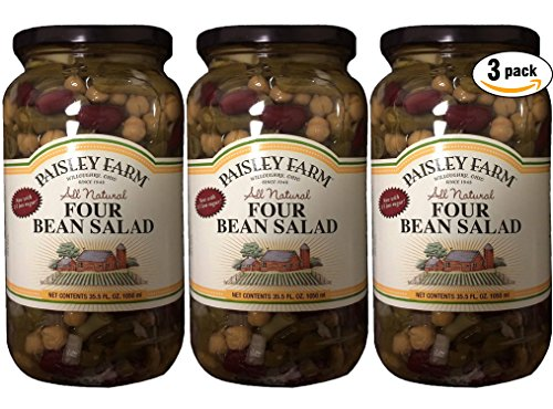 Paisley Farm Natural Four Bean Salad, 35.5oz Glass Jar (Pack of 3, Total of 106.5 ()