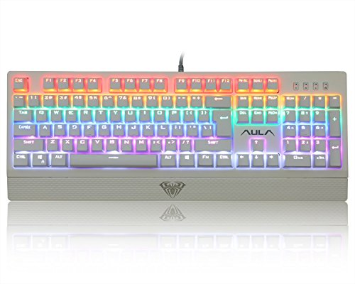 AULA Mechanical Keyboard Wings of Liberty 104keys Multicolors LED Backlit USB Gaming Keyboard with Blue Switches (White) by AULA