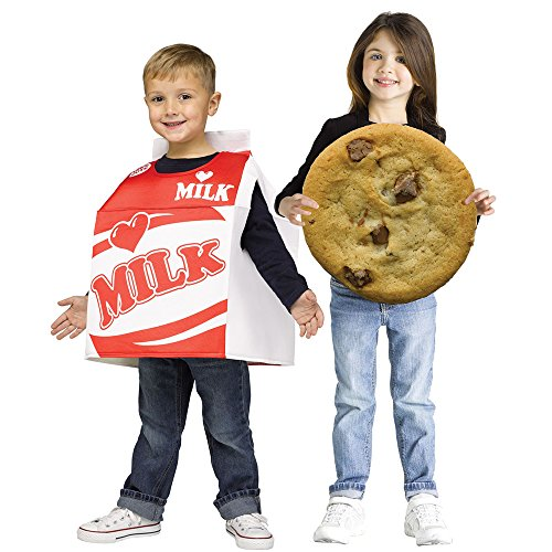 Fun World Unisex Photoreal Milk & Cookie Toddler (Set) Costume, Multicolor, One Size (Halloween Fortune Cookie Costume)