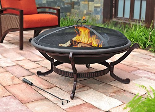 Sunjoy 35'' Nexcom Wood Burning Iron Round Fire Pit - Mesh spark guard cover for added safety to prevent embers from escaping Steel frame with powder-coated finish Contemporary design - patio, outdoor-decor, fire-pits-outdoor-fireplaces - 51CW9OWJ iL -