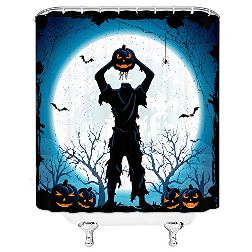 AMFD Halloween Shower Curtain Headless Pumpkin Man Horror Night Bathroom Decor Supplies Curtains Polyester Fabric Waterproof 70 x 70 Inches Include Hooks Blue White -