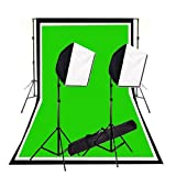 CowboyStudio Photography Photo Studio Video 600 Watt Quick Softbox Lighting Kit with 10 feet x 20 feet Black, White and Green Muslins Backdrops and Background Support System with Case
