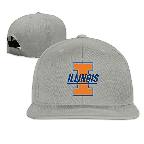 Stylish Illinois Football Logo Sport Team Snapback Ajustable Flat Cap Ash