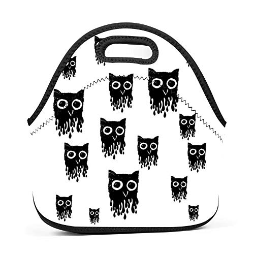 15be7829ad58 SLBDBDMH Lunchbox Lunch Bag Owls Ink Handbag Lightweight Cool Lunch Tote  Bag Insulated Neoprene for School Work Office