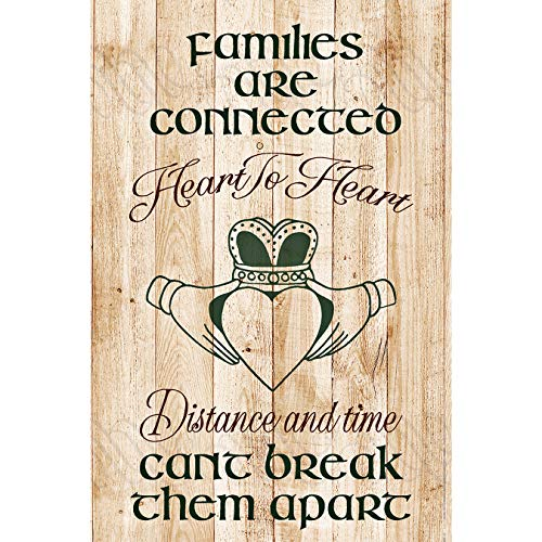 Families Are Connected Wood Plaque with Words Quotes (6 x 9 Inches) - Modern Vertical Plaques Frame Art Decoration for Home or Office with Hook for Hanging or Place on Your Tabletop - Irish Claddagh