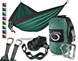Live Infinitely Double Outdoor Camping Hammock Set- Lightweight, Compact & Portable Two Person Parachute Nylon Hammock Set- 2-16 Loop Tree Straps - (Dark Green Middle Grey Edges)