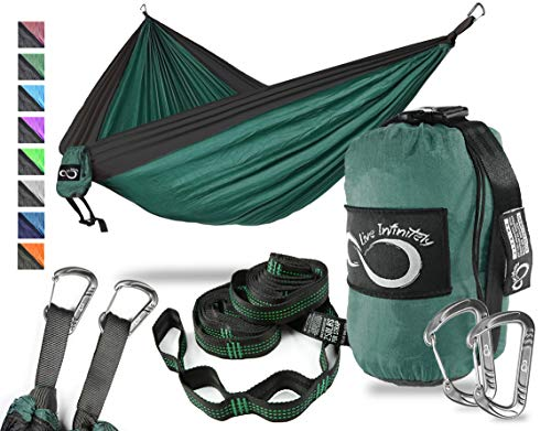 Live Infinitely Double Outdoor Camping Hammock Set- Lightweight, Compact Portable Two Person Parachute Nylon Hammock Set- 2-16 Loop Tree Straps – Holds 500LBS-Ideal for Travel, Hiking Beach