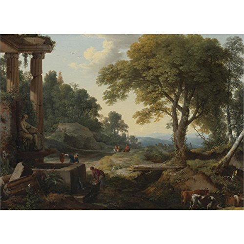 Laurent de La Hyre - Landscape with Two Women at Fountain, Size 18x24 inch, Gallery Wrapped Canvas Art Print Wall décor