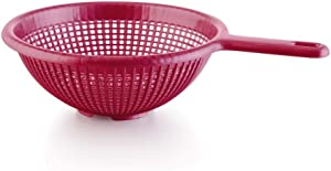 YBM Home 8.5 Inch Plastic Strainer Colander with Long Handle – Made of Food Safe BPA-Free Plastic - Use for Pasta, Noodles, Spaghetti, Vegetables and More 31-1129-red (1, Red)
