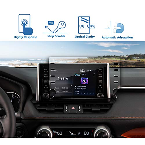 LFOTPP Car Navigation Screen Protector Compatible with 2019 Corolla Hatchback 8-Inch, Tempered Glass 9H Hardness Car Infotainment Display Center Touch Protective Film Scratch-Resistant (2019 8-Inch) ()