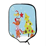 YOLIYANA Christmas Durable Racket Cover,Funny Cartoon Stylized Cat Owl and a Bird Best Friends Animals Gifts Noel Print for Sandbeach,One Size