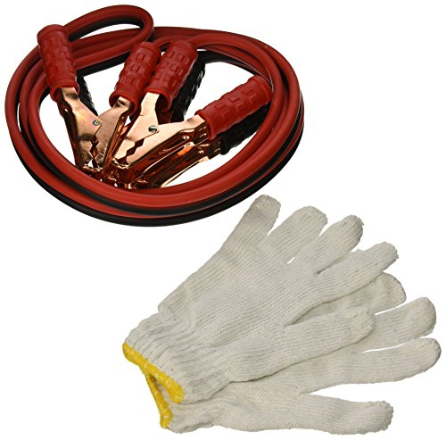 Majic 10 Feet Long, 8 Gauge 300 AMP Heavy Duty Battery Booster Cable / Jumper Cable in Travel Bag and Safety Gloves