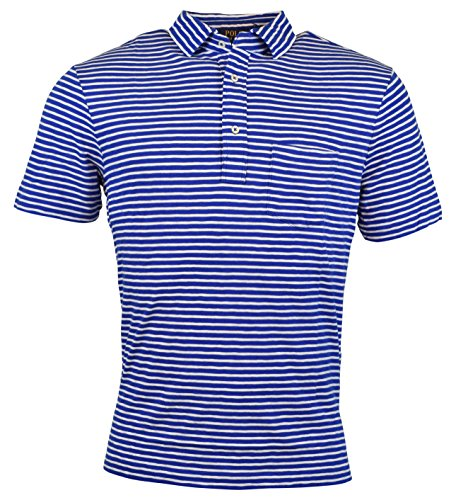 (RALPH LAUREN Polo Men's Striped Cotton Jersey Popover Polo Shirt, Pacific Royal (XX-Large))