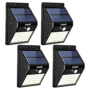 SUAOKI Solar Lights Outdoor Super Bright 28 LED Waterproof Motion Sensor Security Light Detachable Design Wall Light for Deck Patio Yard Backyard Pathway Driveway Garden, Pack of 4