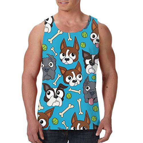 LIN. Men's Boys Boston Terriers Dog Bone Sleeveless Undershirt Summer Athletic Muscle Tank Top Slim Fit Vest Fitness Sport Cool Dry Moisture WickingDaily Wear]()