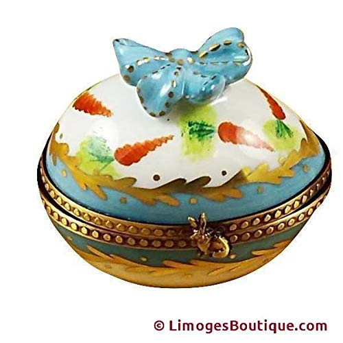 EGG W/BOW & BUNNY - LIMOGES BOX AUTHENTIC PORCELAIN FIGURINE FROM FRANCE