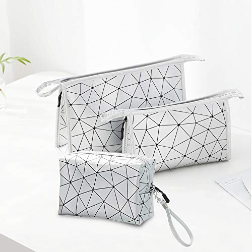 Kosiehouse PU Leather Cosmetic Bags Portable Travel Makeup Organizer Bag Zipper Toiletry Bag Pencil Cases Pouch - Set of 3