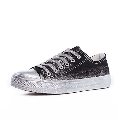 Canvas Casual Sewing Black Shoes Sneakers Fashion Lace Shallow Perfues Shoes Women up Women Solid dfSvYnwq