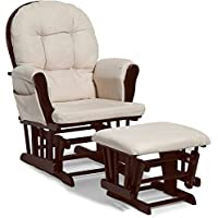 Baby Relax Harbour Glider Rocker and Ottoman Cherry w/ Cushions