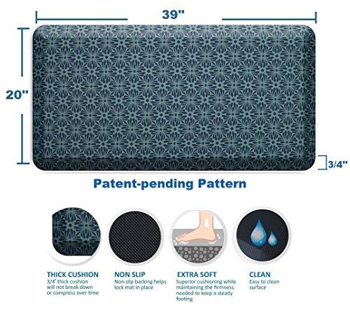 Licloud Anti-fatigue Mat Non-toxic Kitchen Mat Floor Mat Comfort Mat (20x39x3/4-Inch, Flower blue) by Licloud (Image #1)