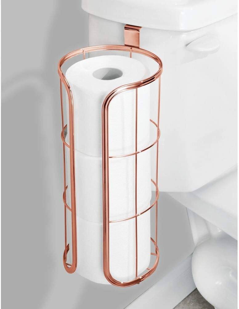 Durable Metal Wire in Graphite Stores Three Extra Rolls mDesign Modern Over The Tank Hanging Toilet Tissue Paper Roll Holder and Reserve for Bathroom Storage Holds Jumbo-Sized Rolls