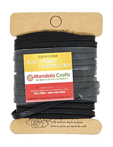 (Mandala Crafts Flat Cowhide Genuine Leather String Cord Lace, Rawhide Strip for Jewelry Making, Clothing, Shoelaces, Baseball Gloves, and Saddles (4mm 6.55 Yards, Black))