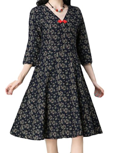 Coolred-femmes Style Ethnique Manches 3/4 Mince Lin Floral Taille Smockée Mi Et Robe Maxi 3