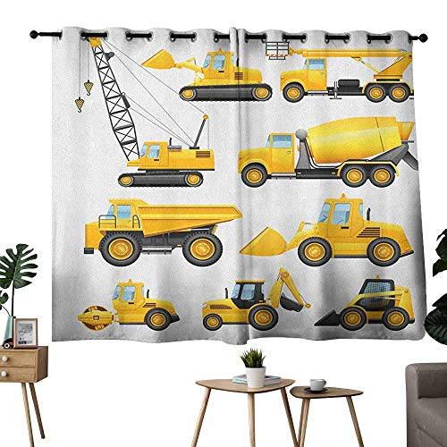 Boys Privacy Curtain Abstract Images of Construction Vehicles and Machinery Trucks Bulldozer Crane Set of Two Panels 72