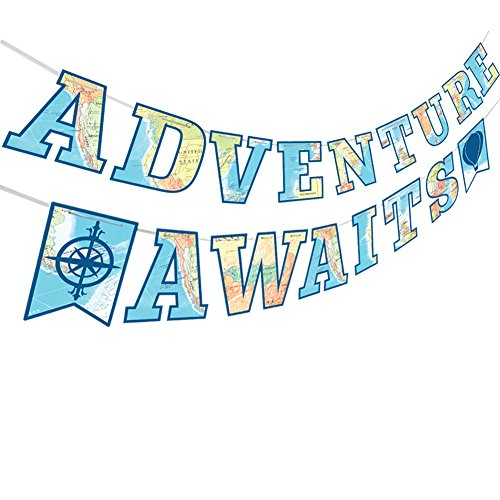 Adventure Awaits Bon Voyage Banner, Travel Themed Party Decorations for Retirement Baby Shower Bridal Shower Job Change Farewell Career Change Party Supplies