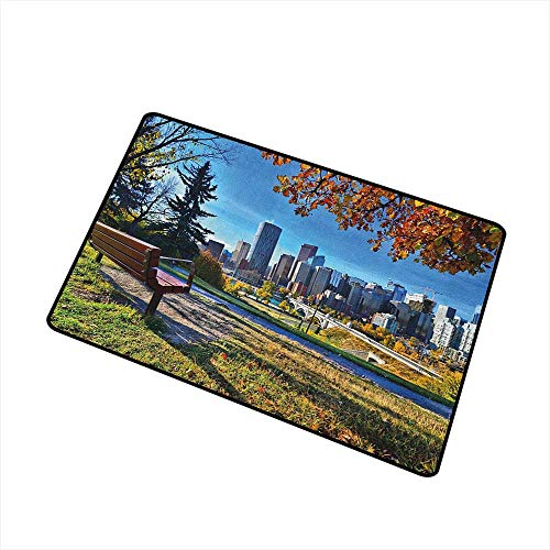 City Welcome Doormat Park Bench Overlooking The Skyline of Calgary Alberta During Autumn Tranquil Urban All Season Universal 20