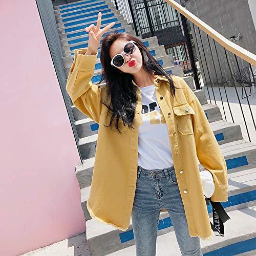 Primavera Print Jacket New Blue Cowboy Student Lmhwtgz 2018 Letter Coat Autunno qXOOFgwH
