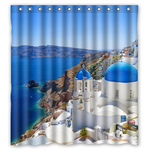 Landscape Romantic Greece Coast Custom Create Design Your Own Waterproof Shower Curtain Bathroom Curtains 60x72 Inches