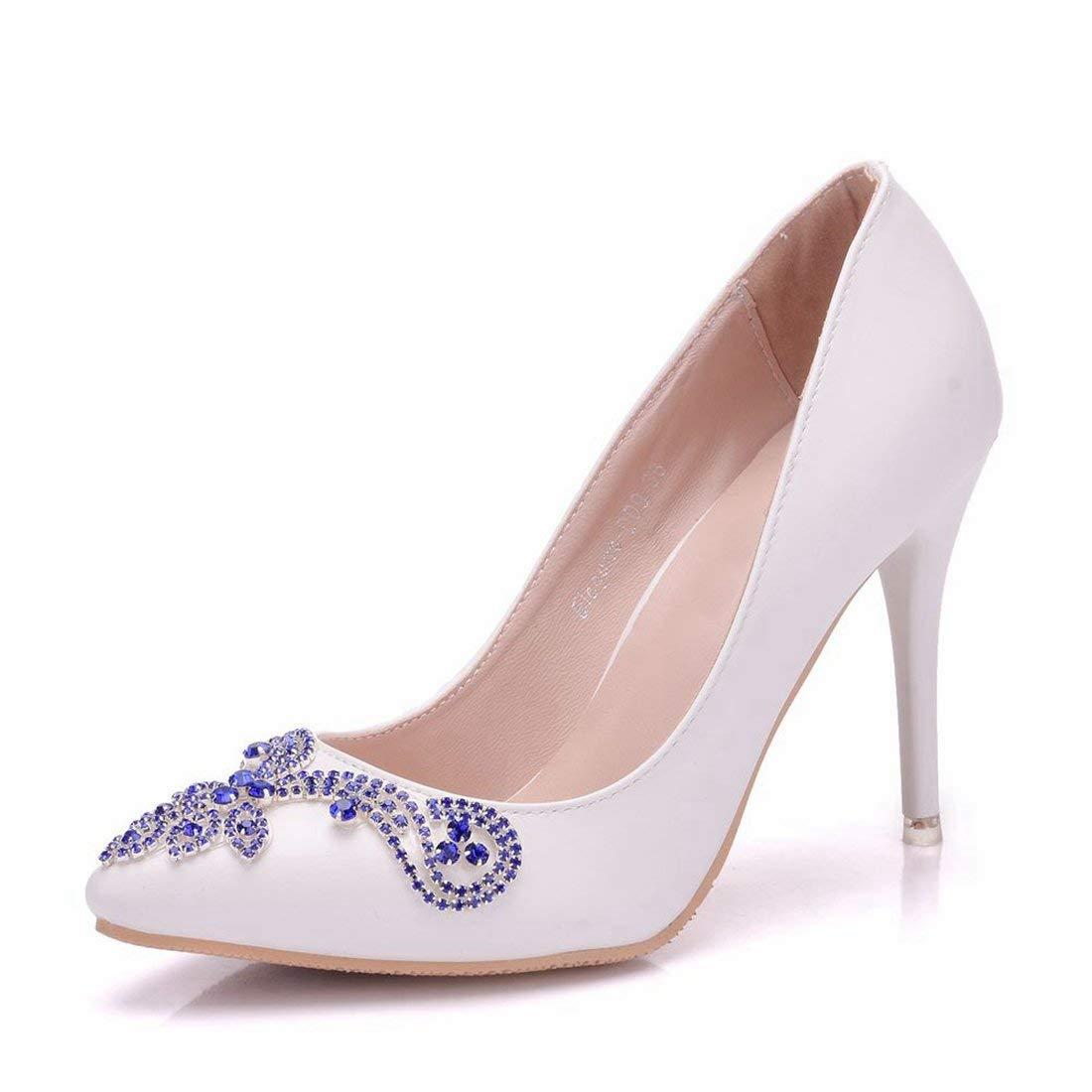 Qiusa Frauen Slim Applique Elfenbein Elfenbein Elfenbein Satin Hochzeit Besondere Anlässe High Heel Pumps UK 7 (Farbe   -, Größe   -) eb1e4f