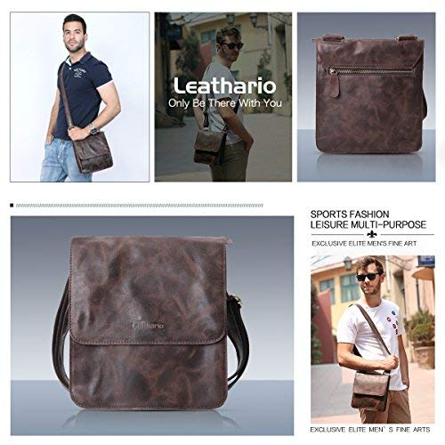 ed18e5435f03 Leathario Leather Shoulder Bag Men's Retro Leather Messenger Bag ...