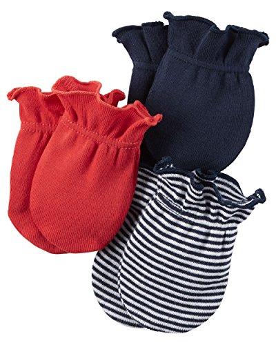 Carters Unisex Baby Mittens (Baby) - Red/Navy/Stripe- 0-3M