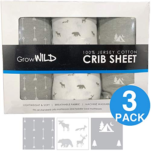 (Premium Crib Sheets 3 Pack | Jersey Cotton Fitted Sheets for Boy or Girl | Standard Baby or Toddler Bed Mattress | Grey Arrows, Animals, Trees)
