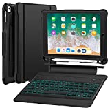 iPad 9.7 Keyboard Case Compatible iPad 9.7 2017(5th Gen), 2018(6th Gen), Pro 9.7, Air 2, Air-Detachable Backlit Wireless Keyboard Stand Case/Heavy Duty Shockproof Rugged Case with Stylus Holder-Black